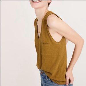 [Madewell] Whisper Cotton V-Neck Pocket Tank-XL